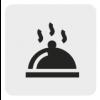 Czarno biała ikona przedstawiająca tacę z pokrywą.