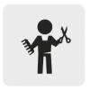 Czarno biała ikona przedstawiająca postać z nożyczkami i grzebieniem.