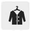 Czarno-biała ikona przedstawiająca odzież na wieszaku.
